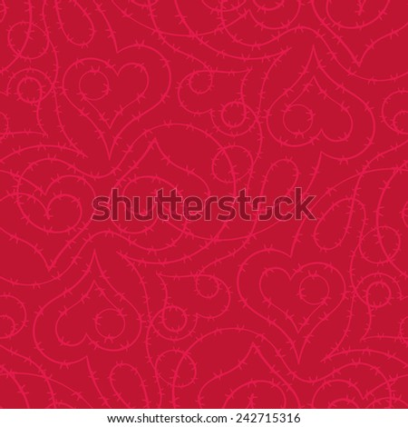 Barbwire with heart shape vector seamless pattern - stock vector