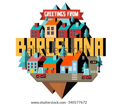 Barcelona city is a beautiful destination to visit for tourism. - stock vector