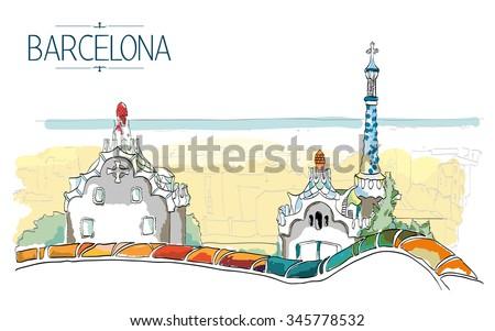 Barcelona Gaudi park illustration. Vintage illustration, hand drawn, colored sketch  - stock vector