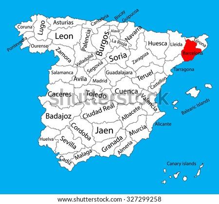 Barcelona Map Spain Province Vector Map Stock Vector 2018