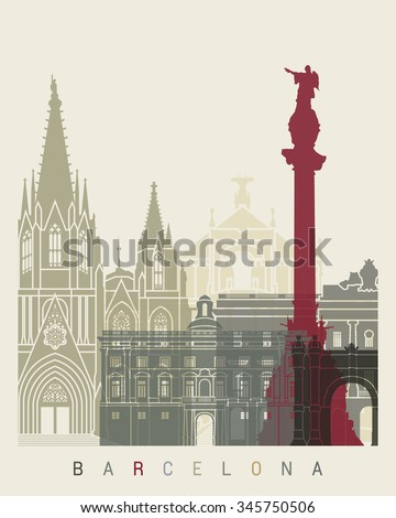 Barcelona skyline poster in editable vector file - stock vector