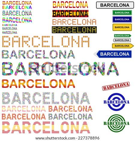 Barcelona text design set - Spanish version - stock vector