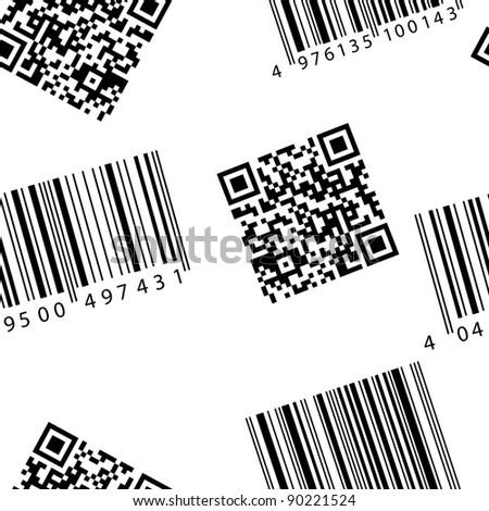 Barcode and qr-code. Seamless vector wallpaper. - stock vector