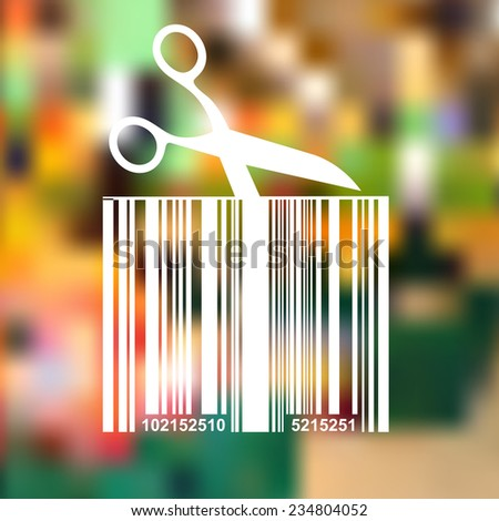 Barcode background with scissors, - vector element for design  - stock vector