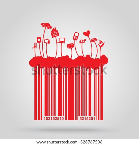 Barcode background with shop elements for design  - stock vector