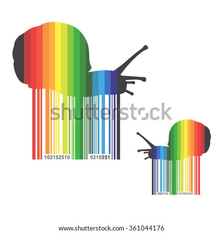 Barcode background with snail theme - vector element for design  - stock vector