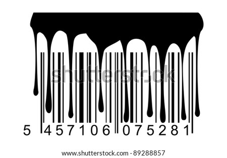 Barcode black paint drips - stock vector