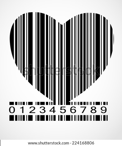 Barcode Heart  Image Vector Illustration