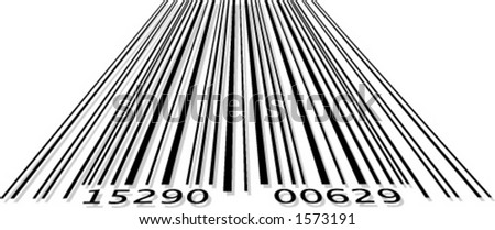 Barcode in perspective format with slight shadow - stock vector