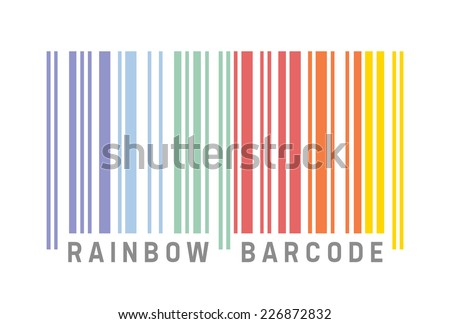 Barcode in rainbow colors, vector illustration - stock vector