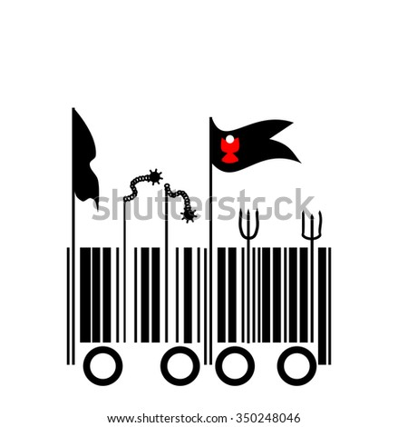 Barcode - Peasant revolt - graphic barcode transitioning into Calixtin flags and agricultural tools and weapons - stock vector