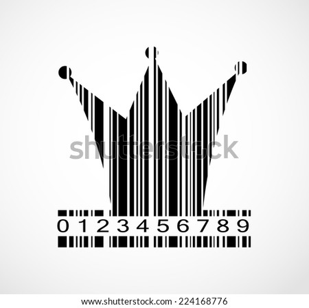 Barcode Princess Crown  Image Vector Illustration
