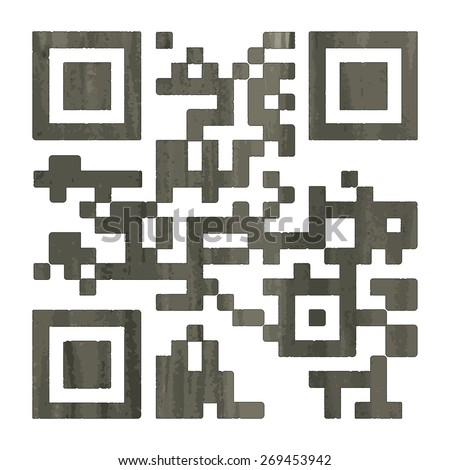 Barcode, qr-code, 2D-barcode in watercolor style. Vector illustration. - stock vector