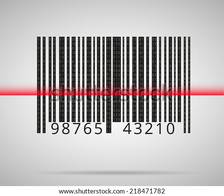 Barcode scanning icon with red laser line - stock vector