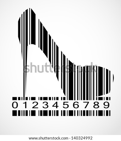 Barcode shoe image vector illustration