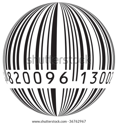 Barcode Vector in the form of the globe - stock vector