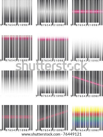 Barcodes and scan rays - stock vector