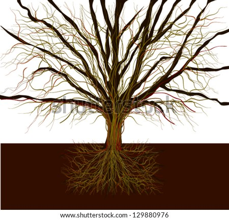 Bare-branched tree - stock vector
