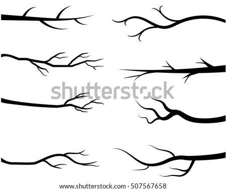 bare tree branch silhouettes vector black stock vector 507567658 rh shutterstock com branch vector ban plus near mi branch vector