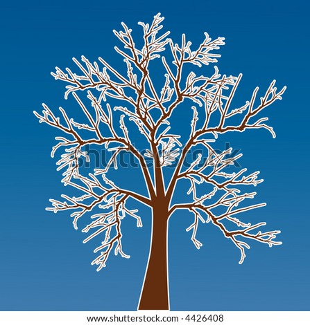 bare  tree with frost vector - stock vector