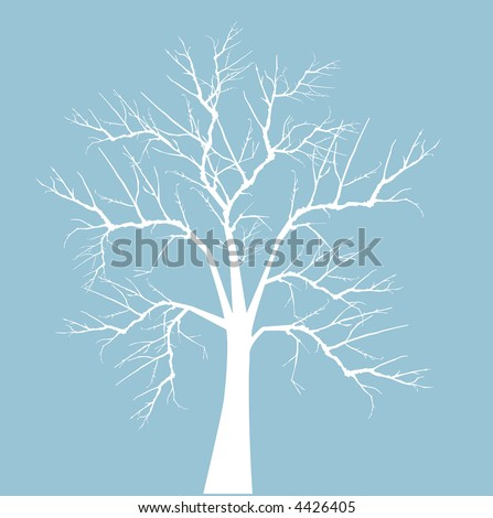 bare winter tree vector - stock vector