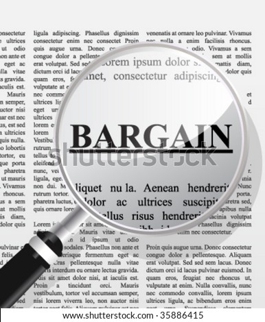Bargain hunt, concept of browsing thu papers