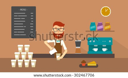 Barista making a coffee to go at the counter of a coffee shop. Flat illustration. Vector stock. - stock vector