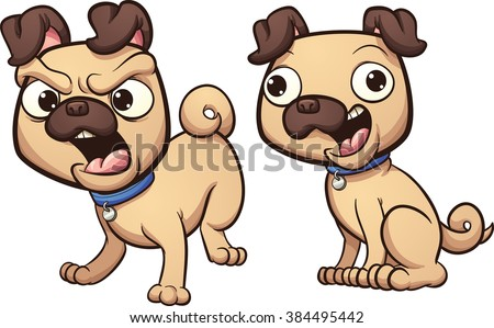 Barking and happy pug dog. Vector clip art illustration with simple gradients. Heads an bodies on separate layer. - stock vector