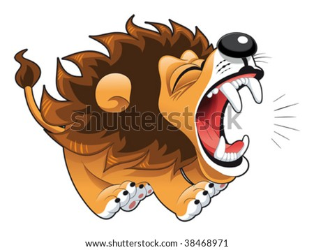 Barking lion. Funny cartoon and vector character - stock vector