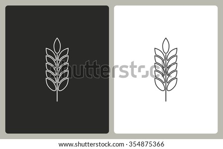 Barley -  black and white icons. Vector illustration