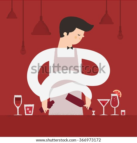 Barman or sommelier in the bar with alcoholic beverages. Profession - Bartender or sommelier at the cafe makes cocktails. poster print design. vector illustration. - stock vector