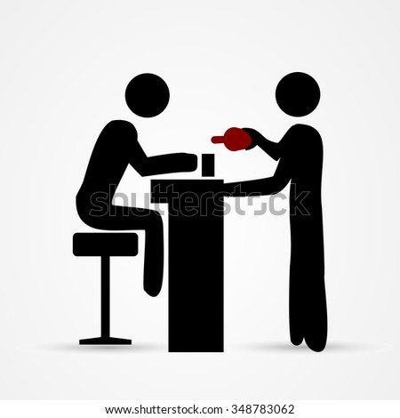 Barman pours a drink to the customer - stock vector