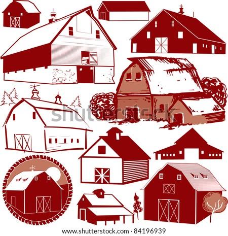 Barn Collection - stock vector