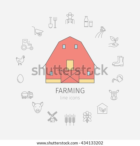 Barn. Shack. Shed. Farmhouse, outbuilding, stable, warehouse, gambrel roof. Thin line icon set. Vector illustration. - stock vector