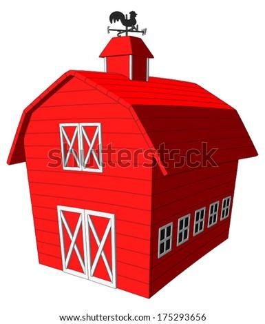 Barn -  Vector Artwork (isolated on white background). - stock vector