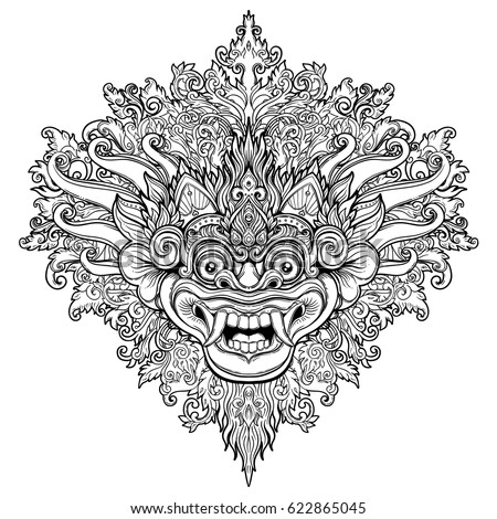 Barong Traditional Ritual Balinese Mask Vector Stock Vector 622865045 Shutterstock