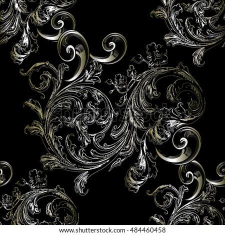 Baroque Antique Elegant Black Floral Vintage Vector Seamless Pattern Background Wallpaper Illustration With Gold Silver Medieval