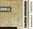 Baroque Background Flyer, Vector brochure style with faded classical house interior - stock photo
