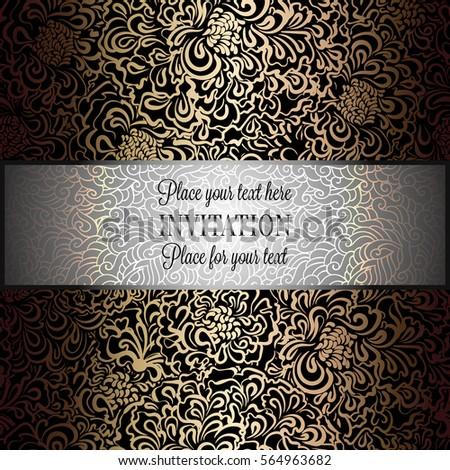 baroque background antique luxury black gold stock vector
