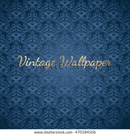 Baroque blue colored seamless abstract floral background, wallpaper, cover etc.