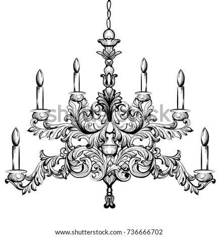 Baroque chandelier luxury decor accessory design stock vector baroque chandelier luxury decor accessory design vector illustration sketch aloadofball Images