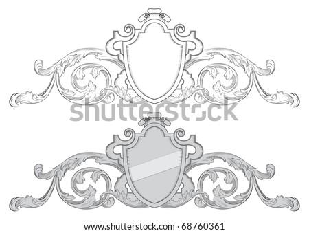 Baroque coat of arms - stock vector