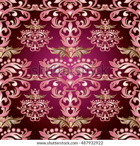 Baroque damask vintage red vector seamless pattern background wallpaper illustration.with antique floral medieval baroque pink  3d flowers leaves and ornaments.