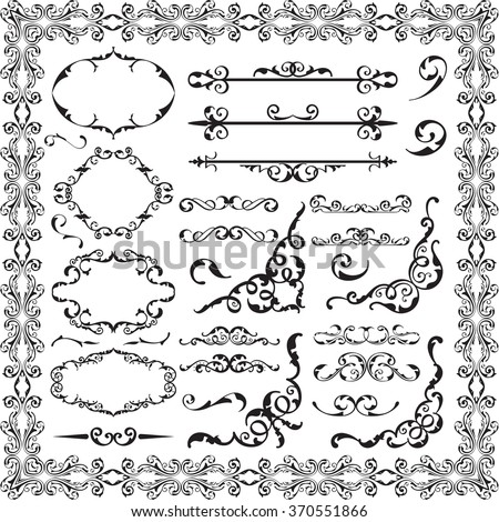 Baroque fine swirl set isolated on white - stock vector