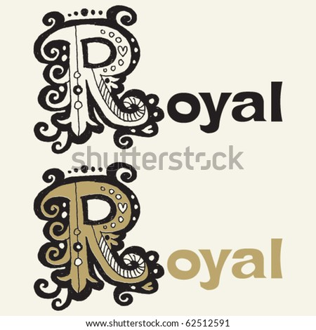Baroque Hand Drawn Lettering Design Capital R