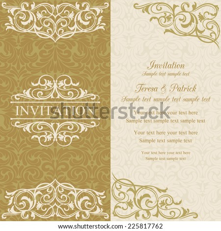 Baroque invitation card in old-fashioned style, gold and beige