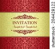 Baroque invitation card in old-fashioned style, gold and red - stock