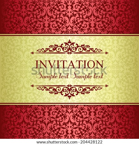 Baroque invitation card in old-fashioned style, gold and red - stock vector