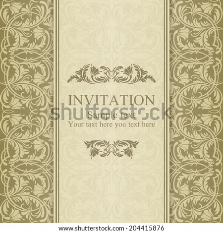 Baroque invitation card in old-fashioned style, pastel beige - stock vector