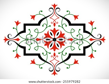 Baroque ornament in Victorian style with abstract tulips and curly lines decoration - stock vector